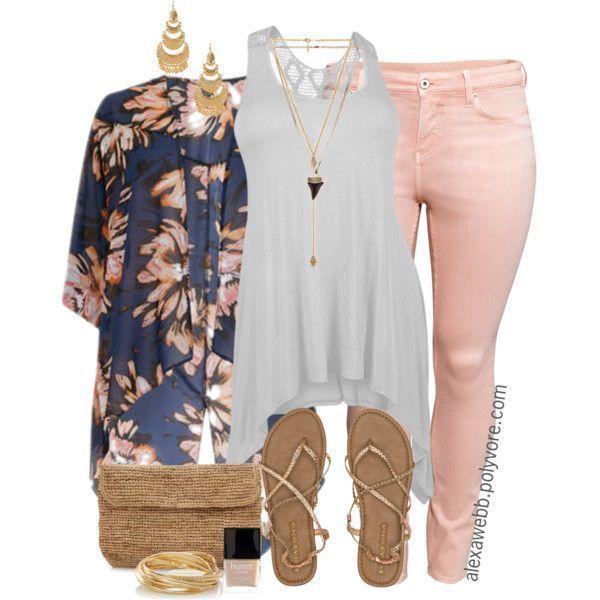 26b654e89dcb1 Plus Size Fashion - Kimono III by alexawebb on Polyvore  alexawebb outfit