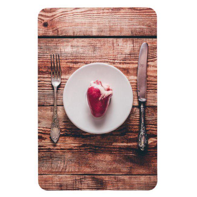 Heart on White Plate Magnet