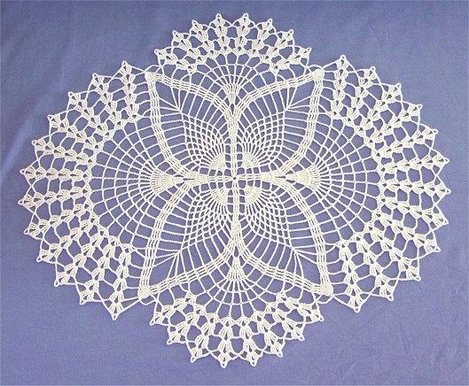 Crochet de encaje blanco tapete oval decoración para el hogar
