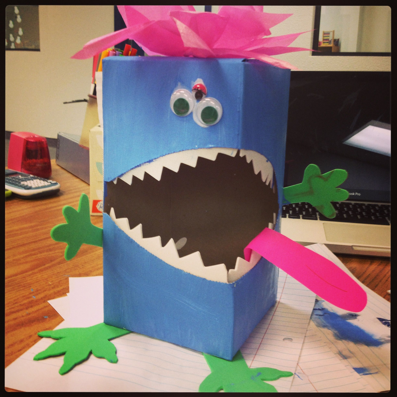 Valentineu0027s Box Monster! Turn A Kleenex Box Sideways And Decorate