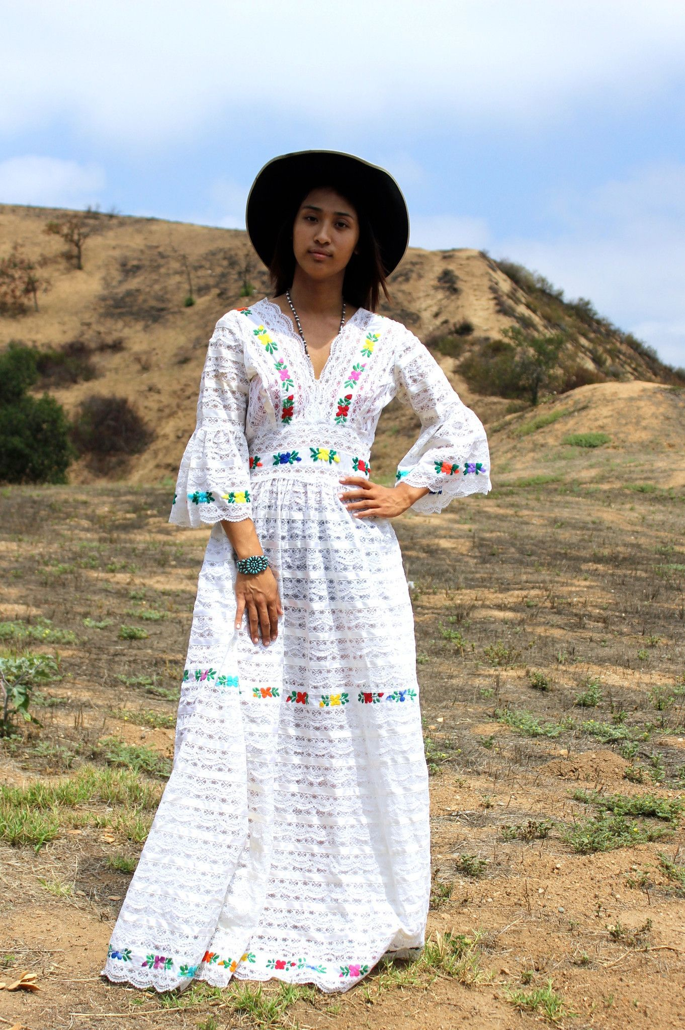 Mexican style wedding dress  Stunning Mexican Lace Wedding Dress Circa  s  Clothes