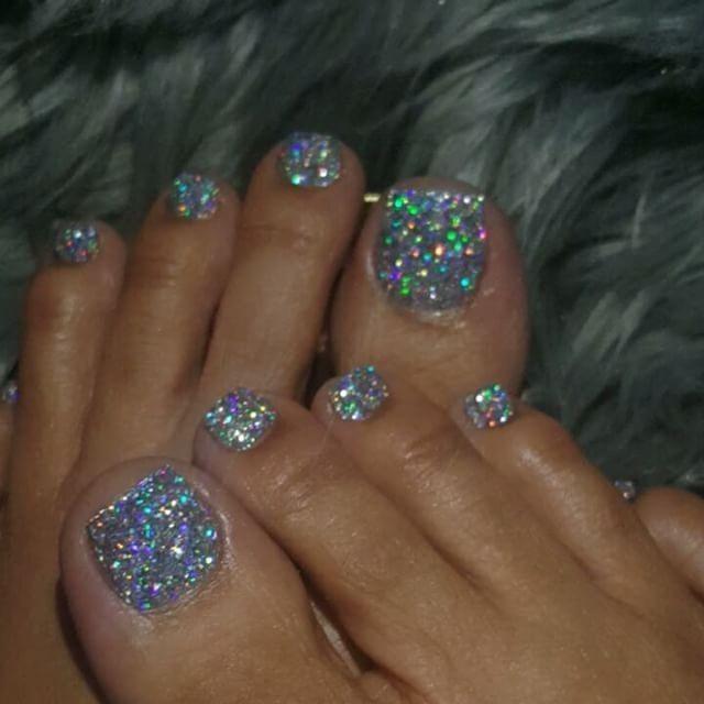 repost stunning glitter toe nails