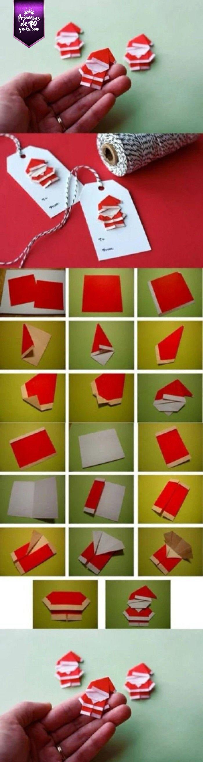 ¿Qué tal esta idea para crear tarjetas navideñas? #santa #Xmas #navidad #DIY #PrincesasDe40