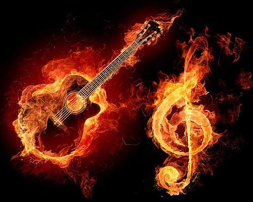 Fiery Treble Clef In Rainbow Flames: On Fire ..................D