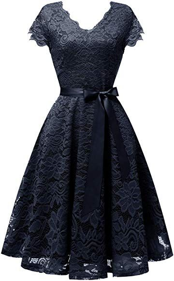 Photo of Amazon.com: Vinvv Damen Short Vintage Lace Dress Cap Sleev …