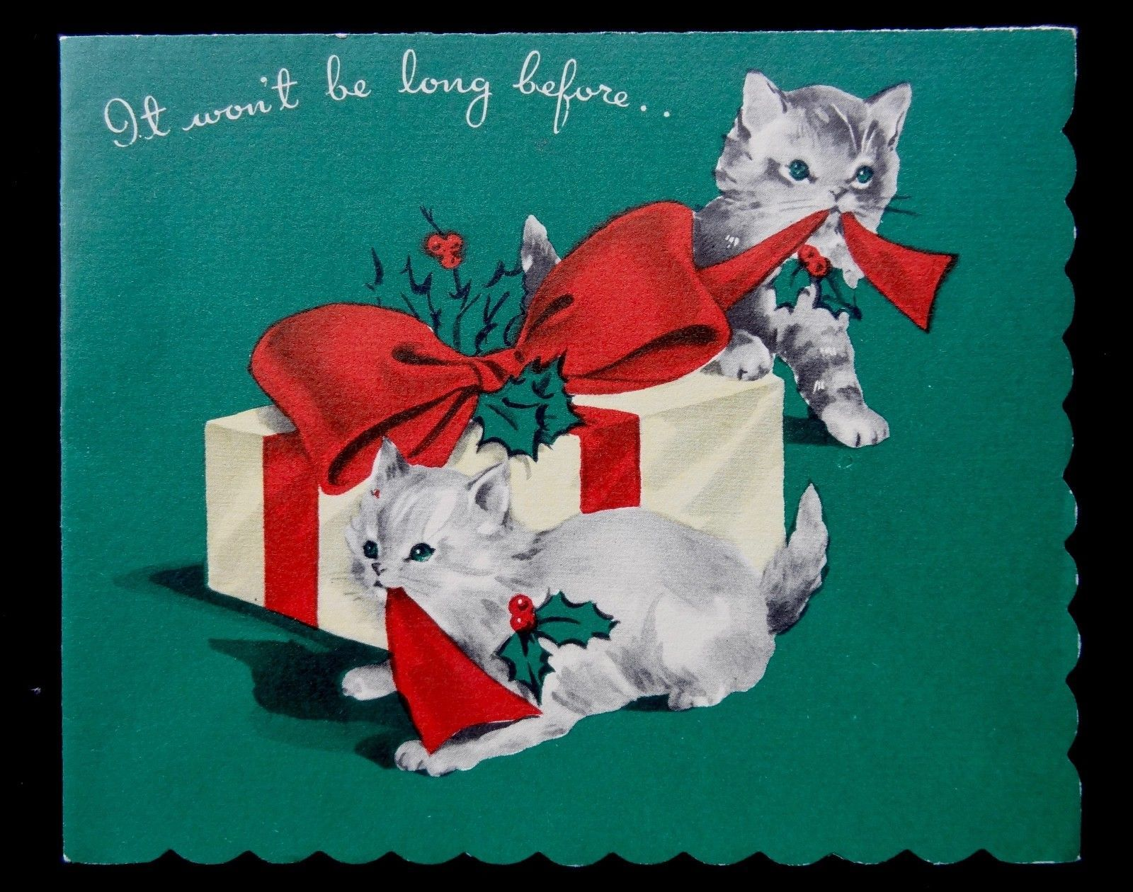 Vintage Christmas Duets Greeting Card Kittens Cats Pulling Bow On Present Ebay Vintage Christmas Cards Vintage Christmas Christmas Watercolor