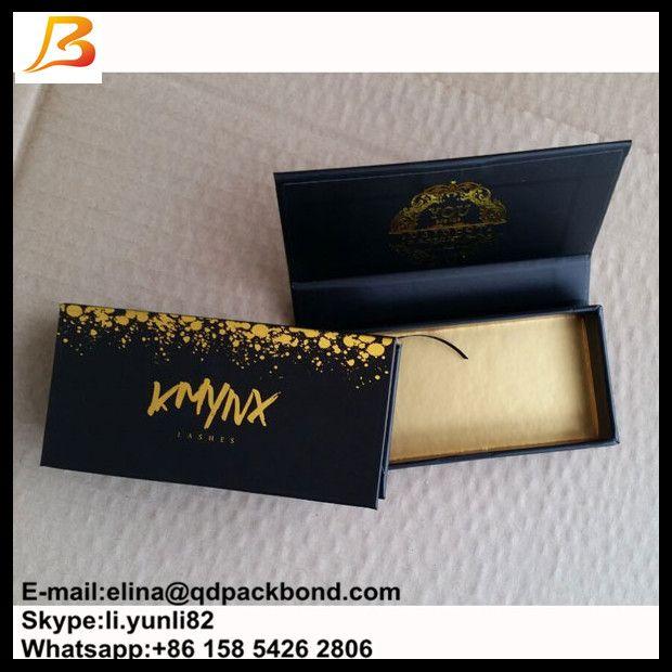 f6e411d31ab Customized False Eyelash Packaging Box With Golden Logo | LASHES ...