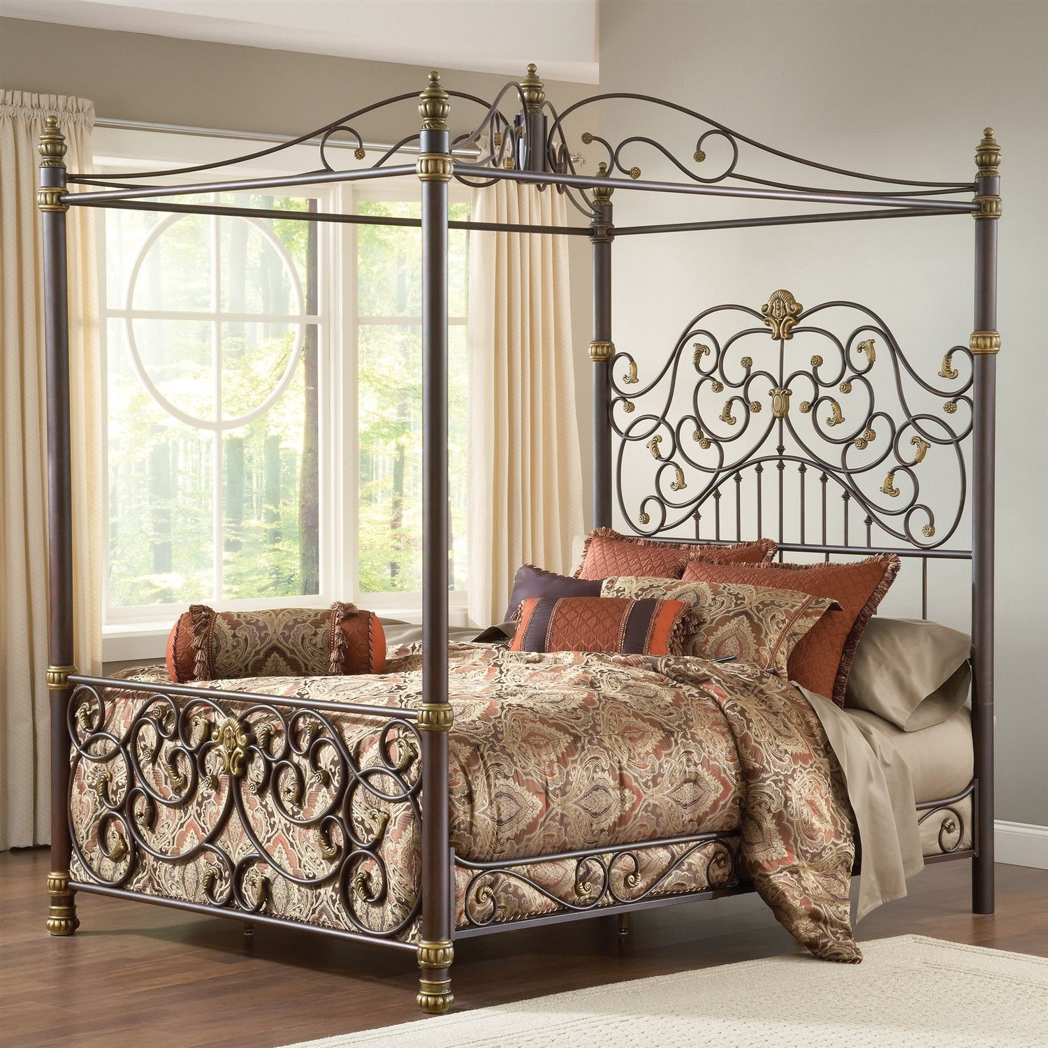King Size Metal Canopy Bed With Posts And Intricate Scrolling Design Hearts Attic For The
