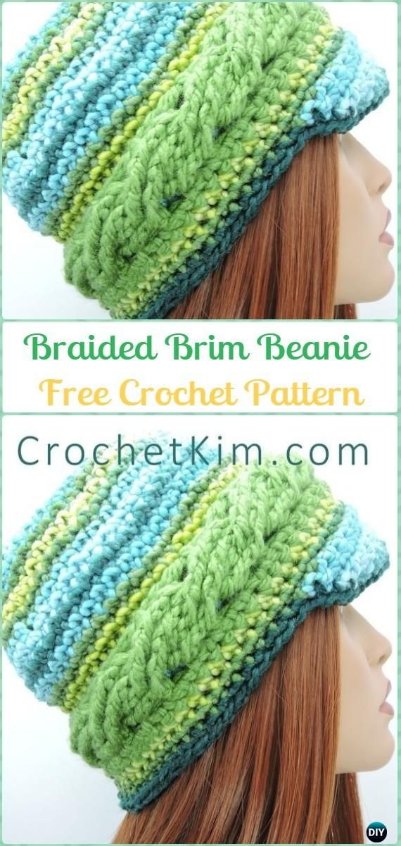 Crochet Braided Brim Beanie Free Pattern - Crochet Cable Hat Free ...