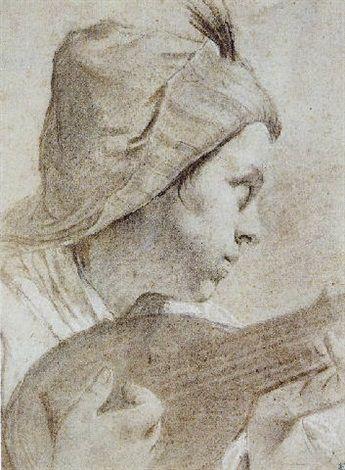 Giovanni Battista Piazzetta (Italian, 1682–1754) - Le joueur de mandoline, Pierre noire, 35 x 26 cm. (13.8 x 10.2 in.)