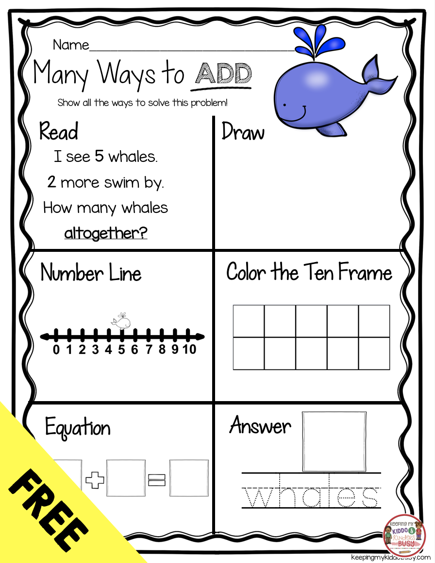 FREE Kindergarten Addition Worksheets - Assessments and Centers    Kindergarten math free [ 1158 x 896 Pixel ]