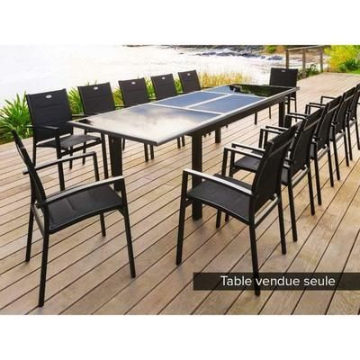 Table rectangulaire extensible AZUA 8 - 12 places Noir ...