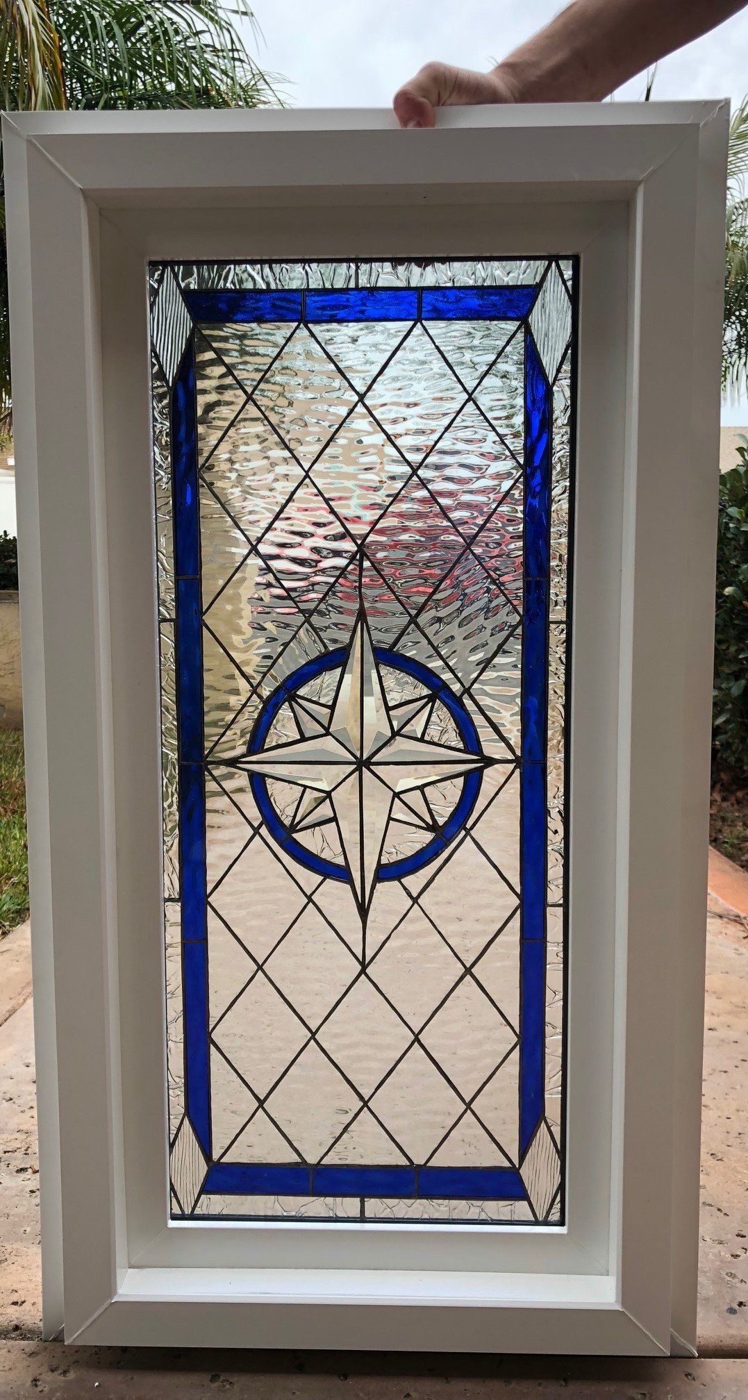 Compass rose beveled leaded stained glass window