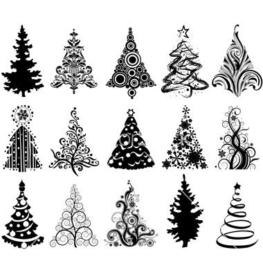 christmas tree vector files for silhouette cameo - 75 White Christmas Tree
