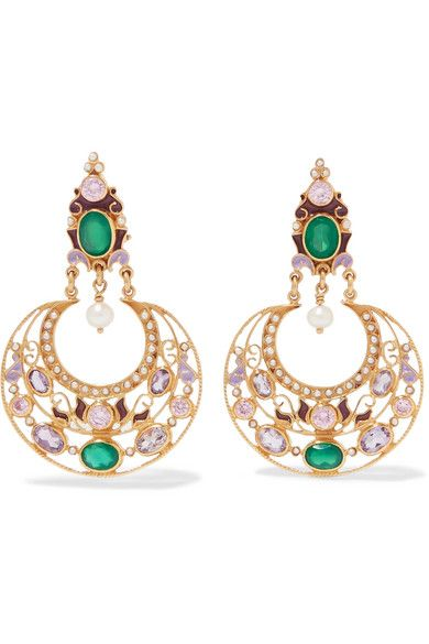 19199191f Percossi Papi - Gold-plated And Enamel Multi-stone Earrings - Green ...