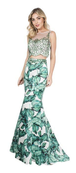 77bab00e2 Vestido longo cropped em duas peças, sendo uma saia de crepe estampado e  parte superior em tule bordado. A saia em estilo sereia valoriza a silhueta  e a ...