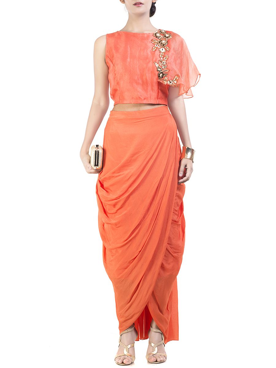 53bad49f1 Bright Orange cape crop-top & wrap dhoti skirt #Ekatrra #Stylist #