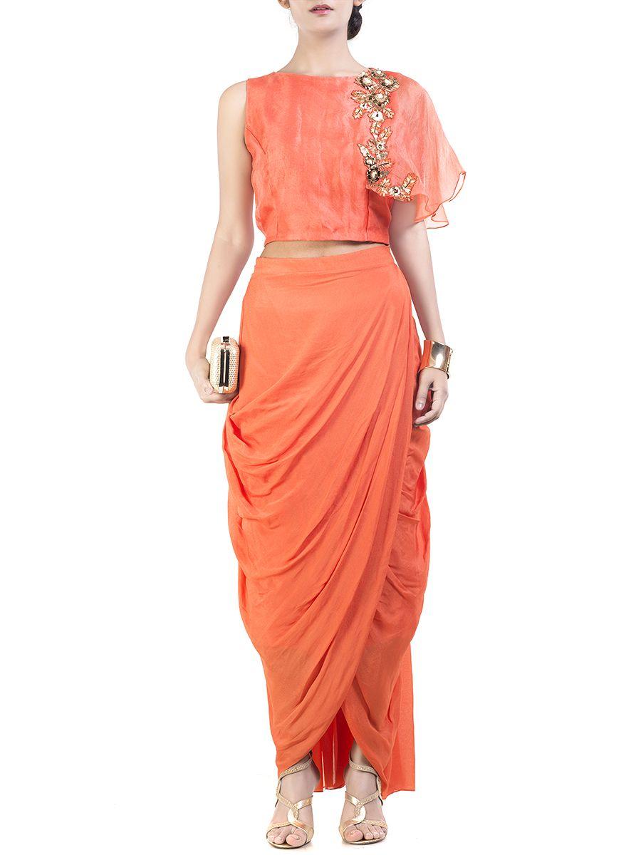 f37f88e368 Bright Orange cape crop-top & wrap dhoti skirt #Ekatrra #Stylist #
