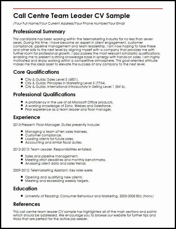 Food Service Worker Job Description Resume Beautiful Call Centre Team Leader Cv Sample In 2020 Resume Examples Resume Good Resume Examples