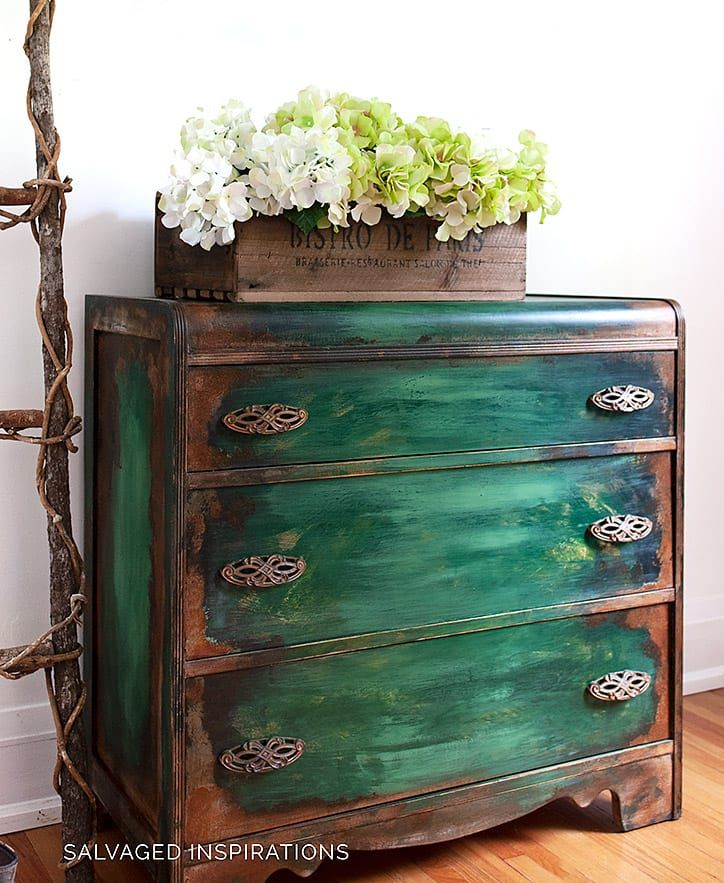 How To Paint Patina Paintina Furniture! in 2020 Bright
