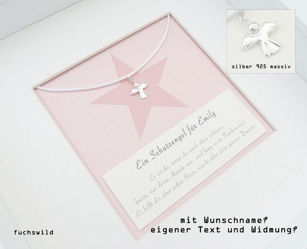 Weiteres Schutzengel Bild Anhänger Geburt Taufe Stern Rosa