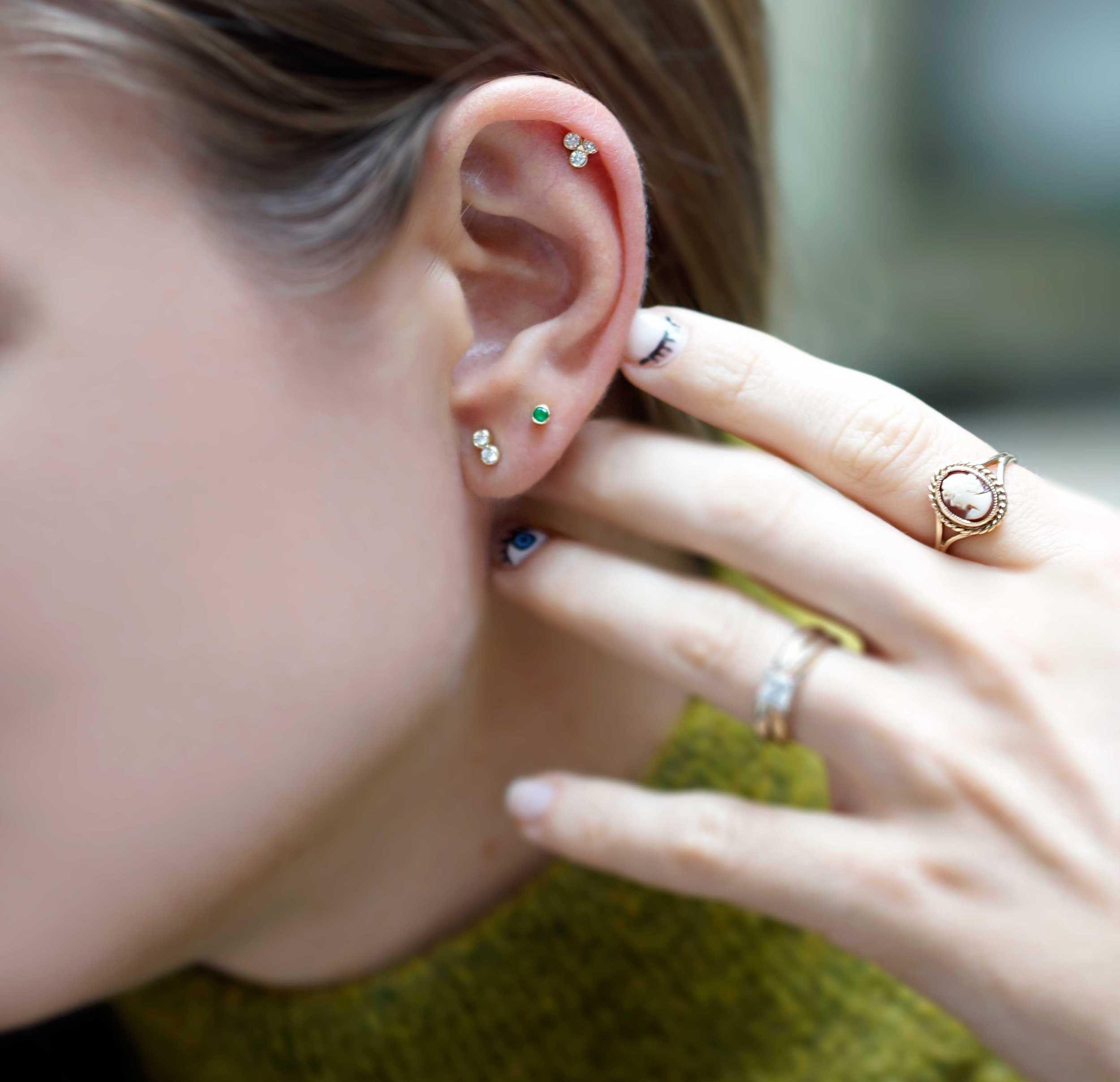 36fcec254 Double Diamond 18K Yellow Gold Cartilage Piercing Stud Medium Sizes | LENA  COHEN #piercing #piercingaddict #londonpiercing #jewellery #jewelry  #fashion ...