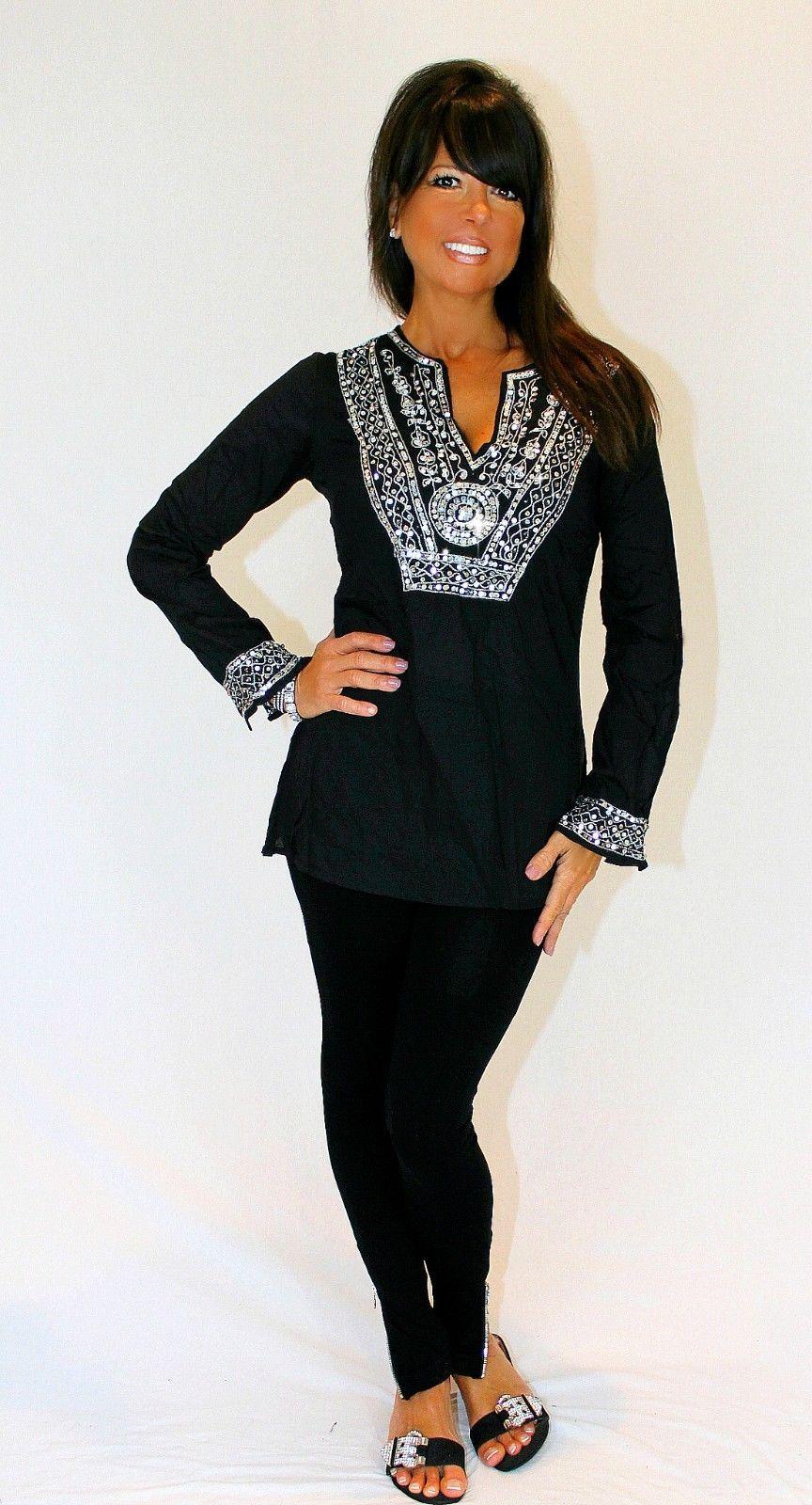 Boho Vintage Moroccan Sequin Tunic Top Hippie Gypsy 70's Indie Black Silver | eBay