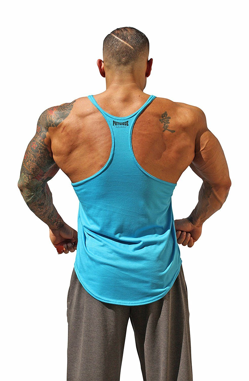 0f6dd93a1fb129 Physique Bodyware Mens Blank Y Back Stringer Tank Top. Built In America  (Small