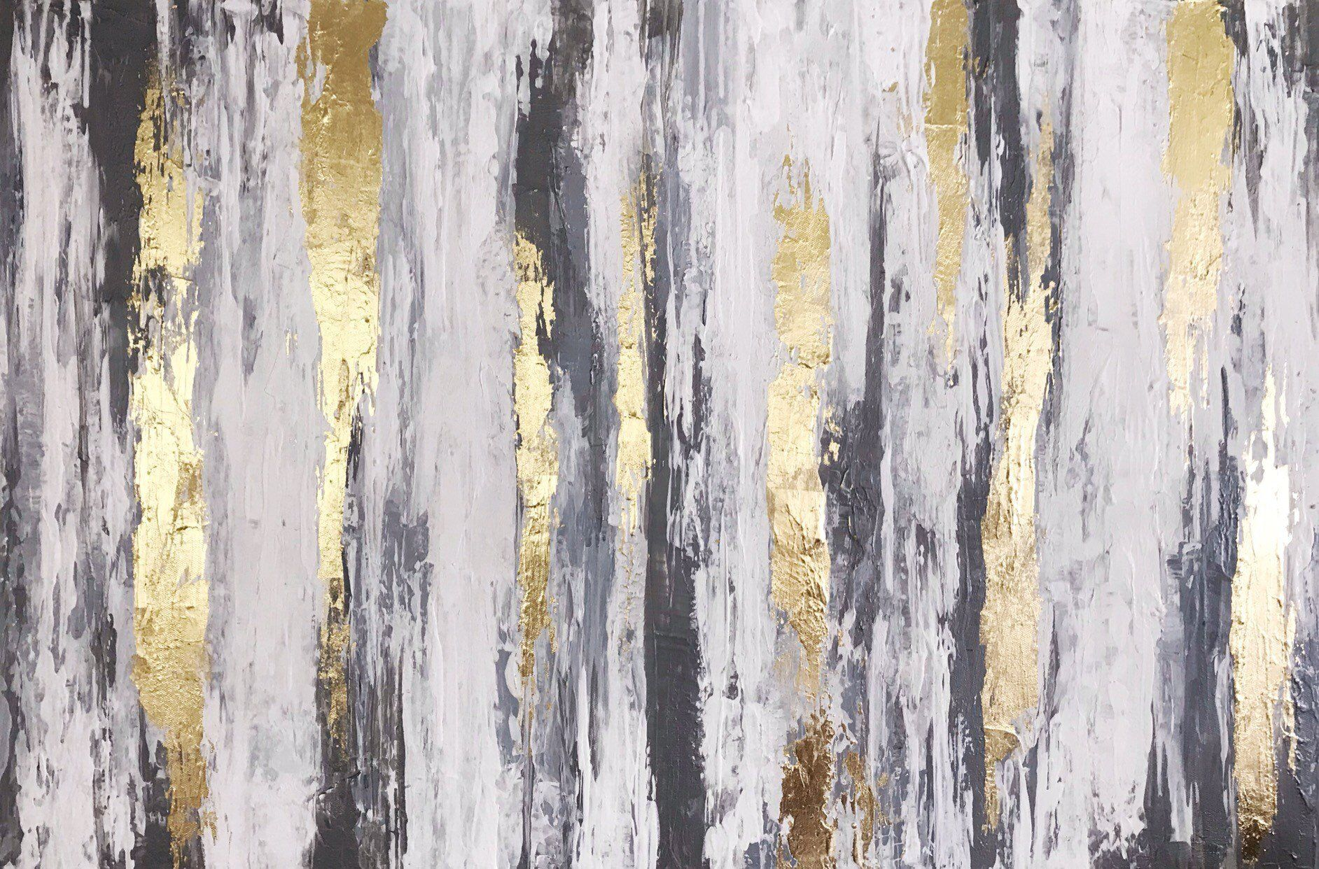 Neutral Wall Art Silver Grey Gold Abstract Art Gold Leaf Etsy Modern Canvas Art Silver Leaf Painting Abstract