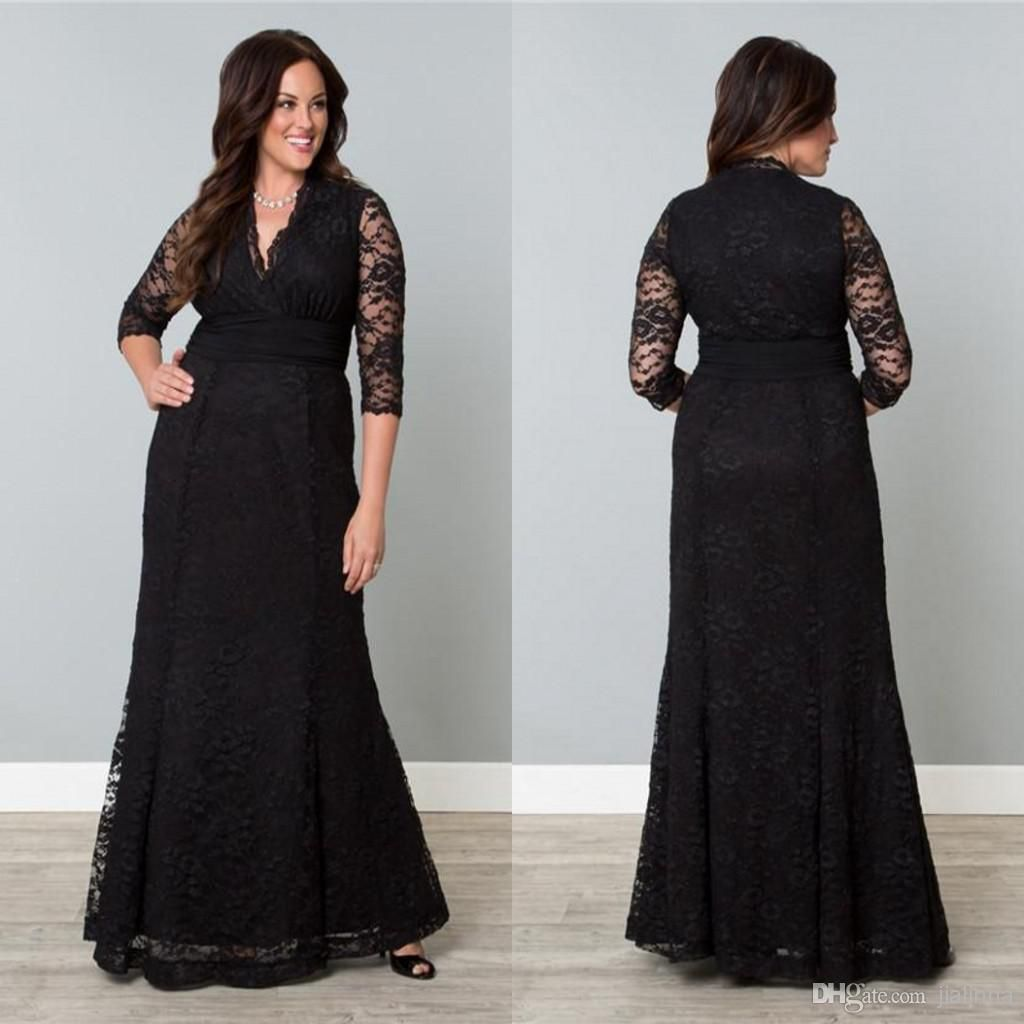 Hot Sale Popular Black Lace Plus Size Special Ocaasion Mother Dress