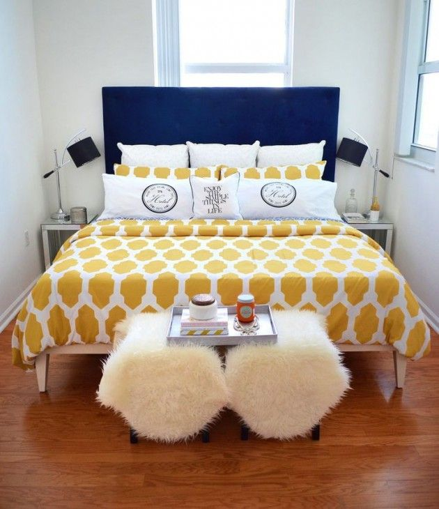 Navy Blue And Bright Yellow Bedding Welcomes Warmer