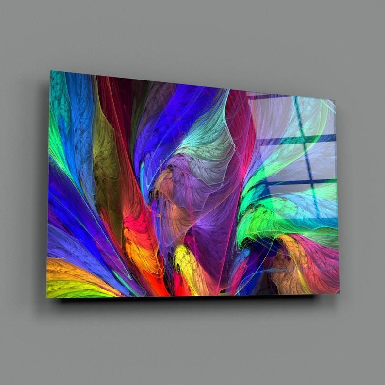 Neon Abstract Tempered Glass Printing Wall Art Natural And Vivid Wall Decor Modern Wall Art Extra Large Wall Art Vertical Wall Art Glass Printing Glass Wall Art