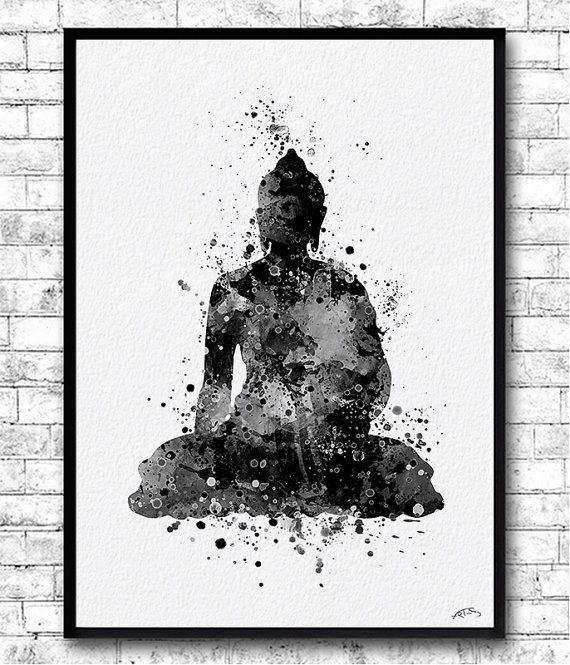 Instant Digital Download Buddha 2 Watercolor Print by