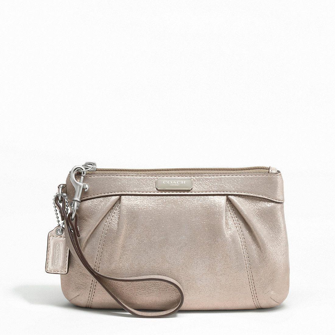 Coach Leather Pleated Medium Wristlet Purse 46484 Pewter Price See