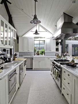 Helena 2 - traditional - kitchen - los angeles - Tim Barber LTD Architecture & Interior Design.  Penny tile floor