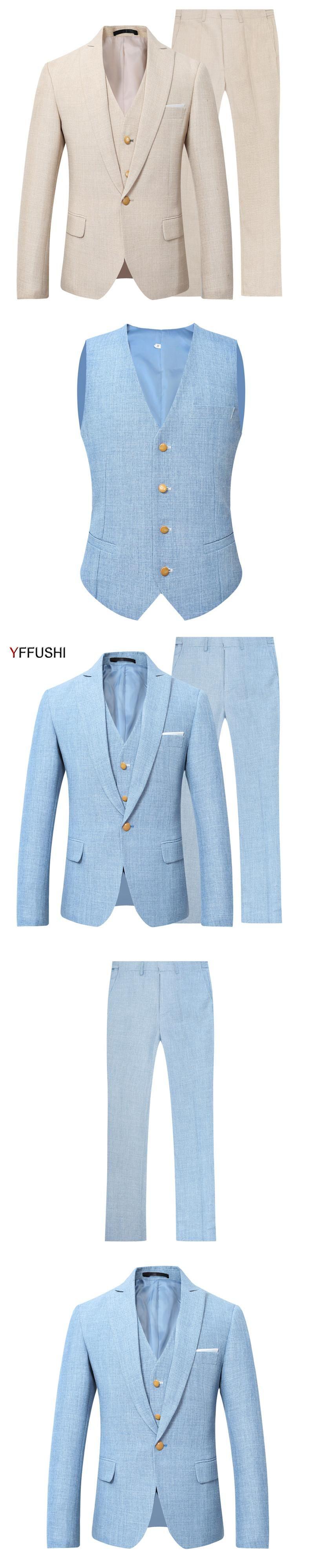 YFFUSHI New Men Suit Party Dress Blue Wedding Suits for Men Tuxedo ...