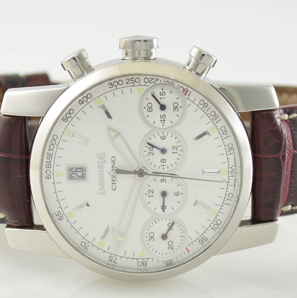 EBERHARD Chrono-4 Armbandchronograph, Schweiz um 2005, Ref. 31041, Automatik, Edelstahl, orig. Lede