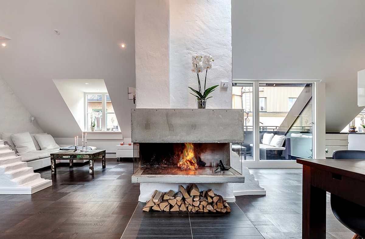 Fireplace Ideas In The Middle Of House With Solid Conc