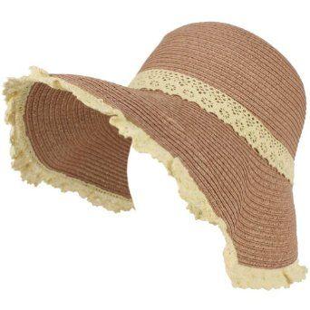 lace trim sun hat/ beach hat