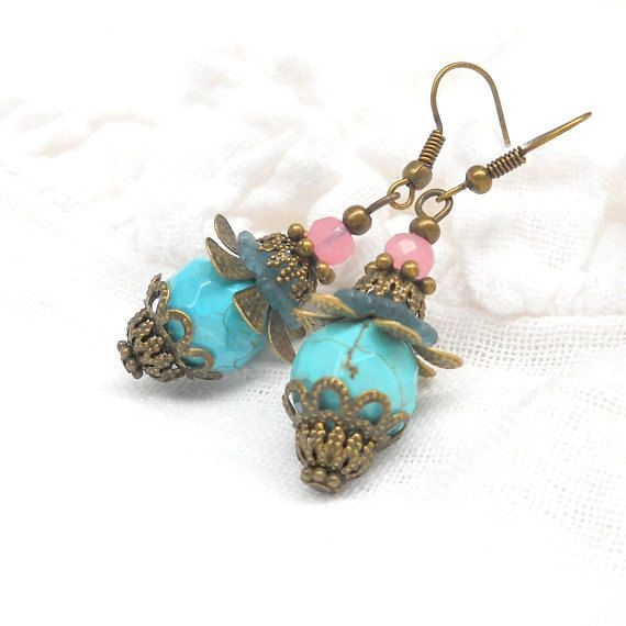 Turquoise And Pink Dangle Earrings By Minouc
