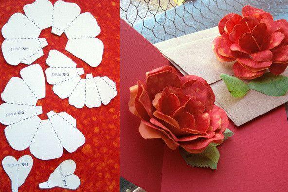 Цветы розы на открытку своими руками