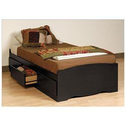 45cb1ac74d654 Black Twin Platform Storage Bed (3-drawers) By Prepac (00772398520803) This