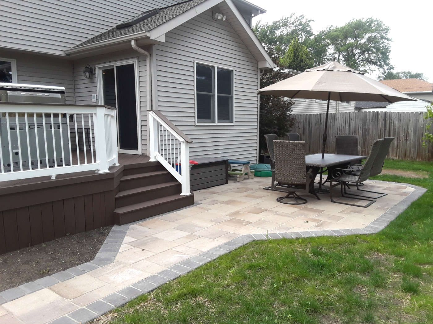 Beautiful Deck And Patio Combination Project Using Timbertech Decking And Belgard Paver Patios Patio Builders Paver Patio Patio