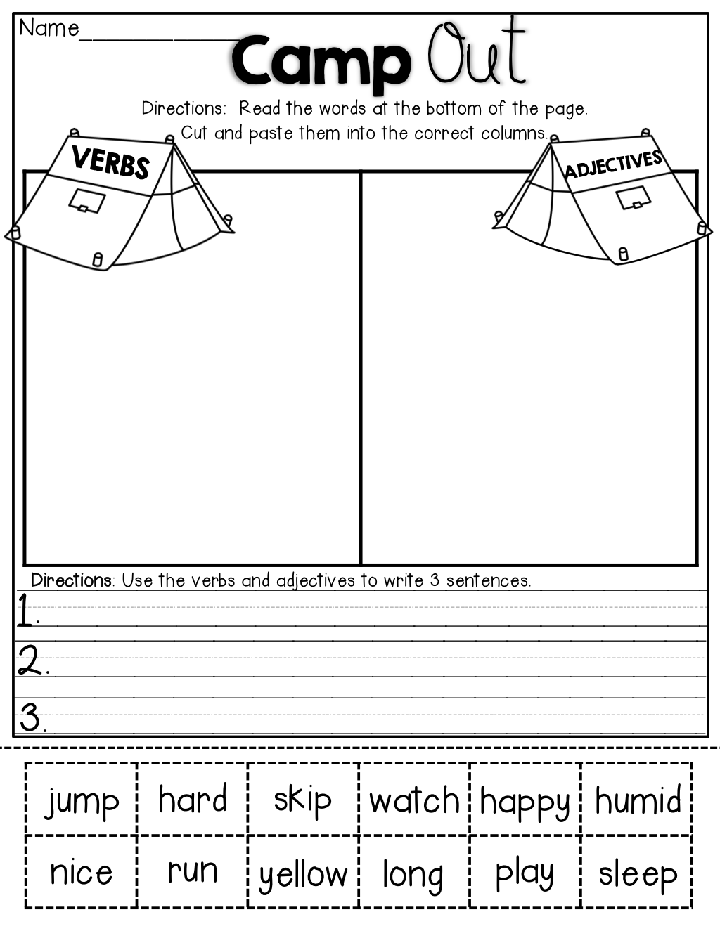 Verbs And Adjectives Cut And Sort The Verbs And