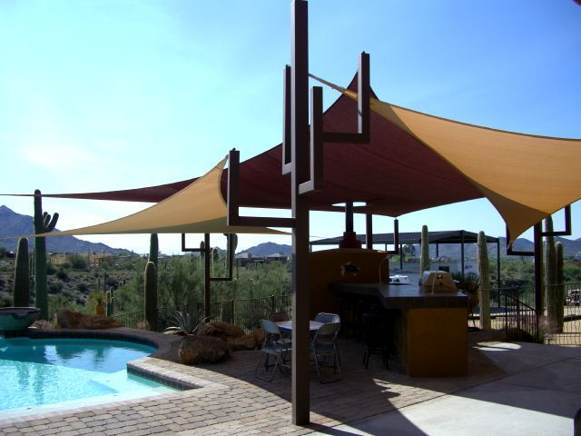 Gilbert Pool Hat Shade Canopy That Post Is A Cactus Shade Sail Pool Shade Patio Shade