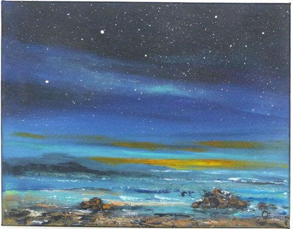 Night Sky With Stars Ocean Landscape Painting 11x14 Astronomy Starry Night Ocean Landscape Painting Ocean Landscape Painting