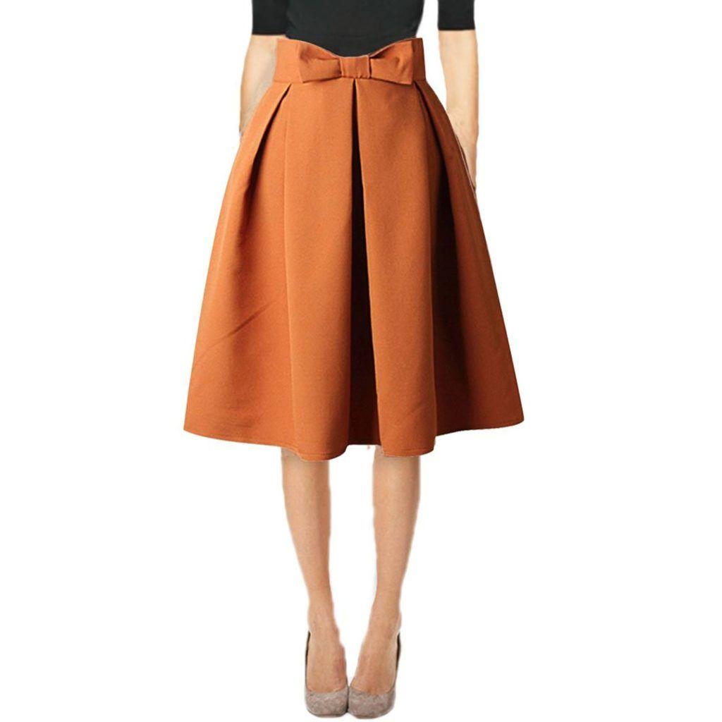 d5e223593 Hanlolo Womens 50s Vintage Skirt Knee Length High Waist Pleated Midi Bow  Skirts