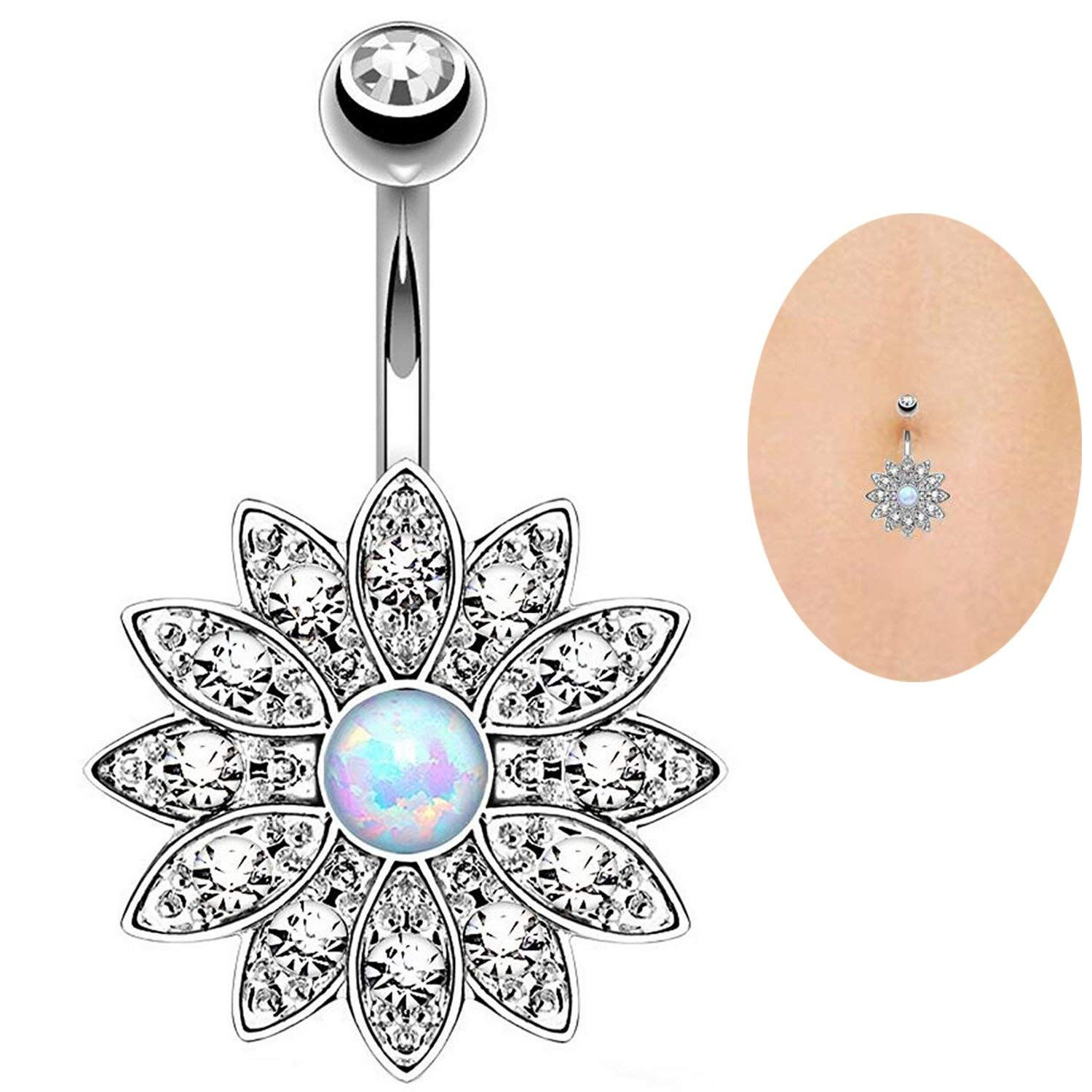 Bubble under belly piercing  TOPBRIGHT PCS G Surgical Steel Dangle Navel Belly Button Ring