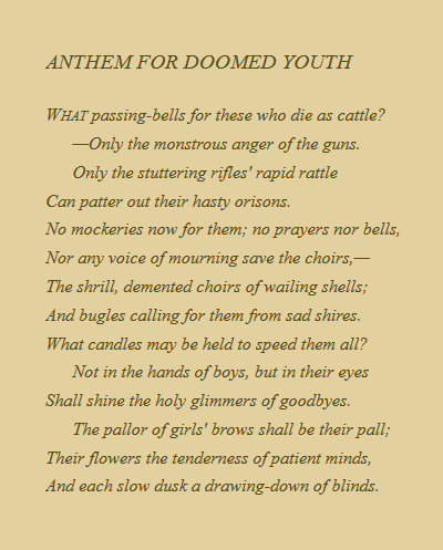 Wilfred Owen Anthem For Doomed Youth  Quotes  Poems  Pinterest  Wilfred Owen Anthem For Doomed Youth Order University Writing also Science Vs Religion Essay  Locavores Synthesis Essay