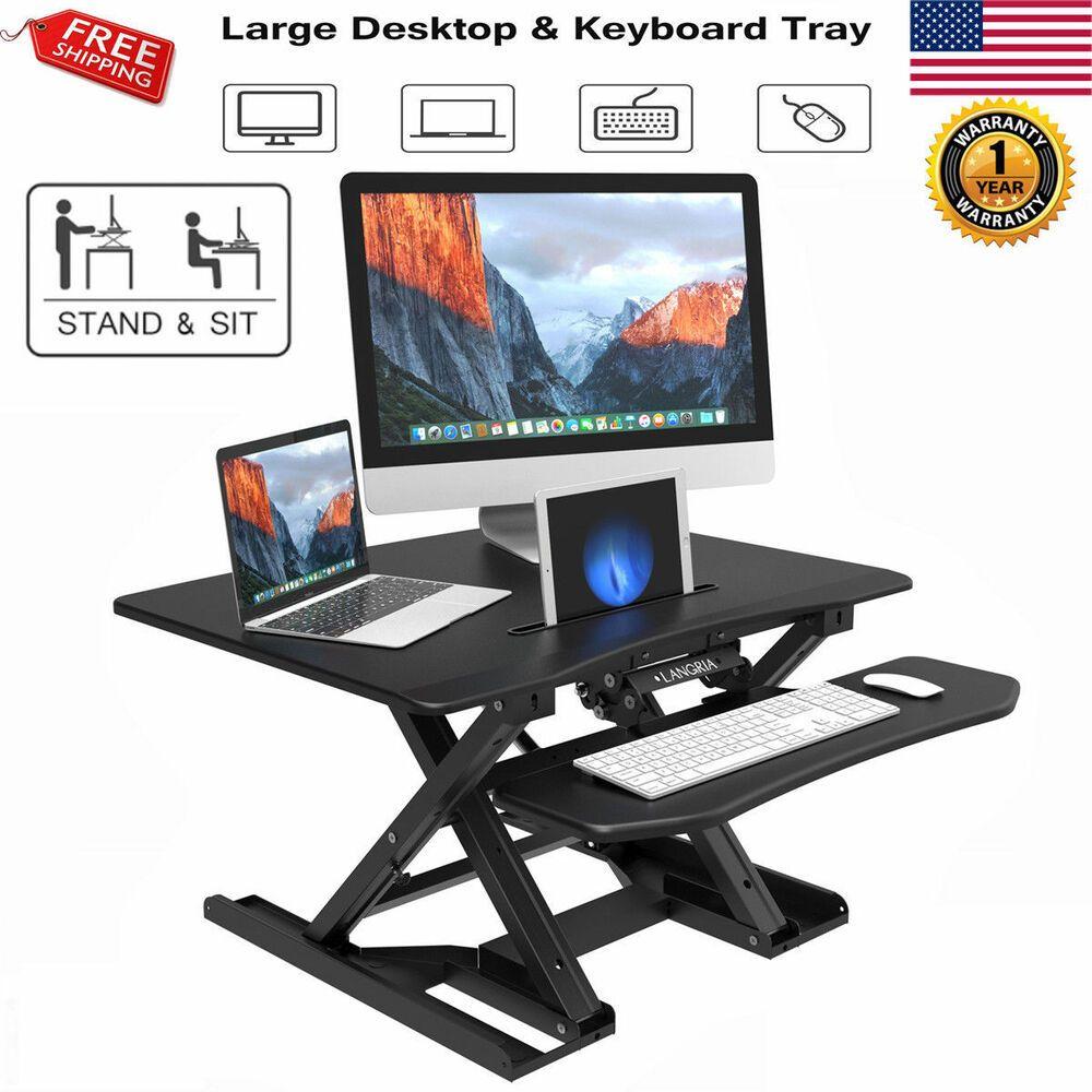 Adjustable Height Stand Up Desk Steel Computer Workstation Lift